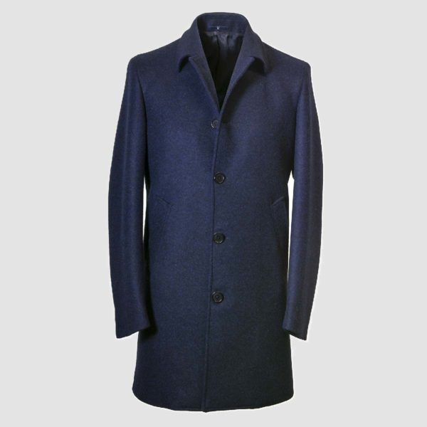 Blue 100% Wool Overcoat