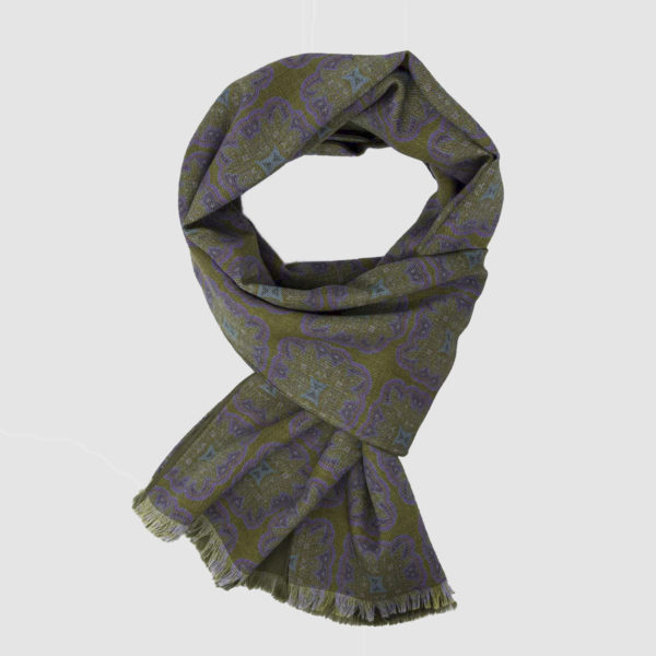Green & Purple Wool and Silk Scarf with kaleidoscopic pattern