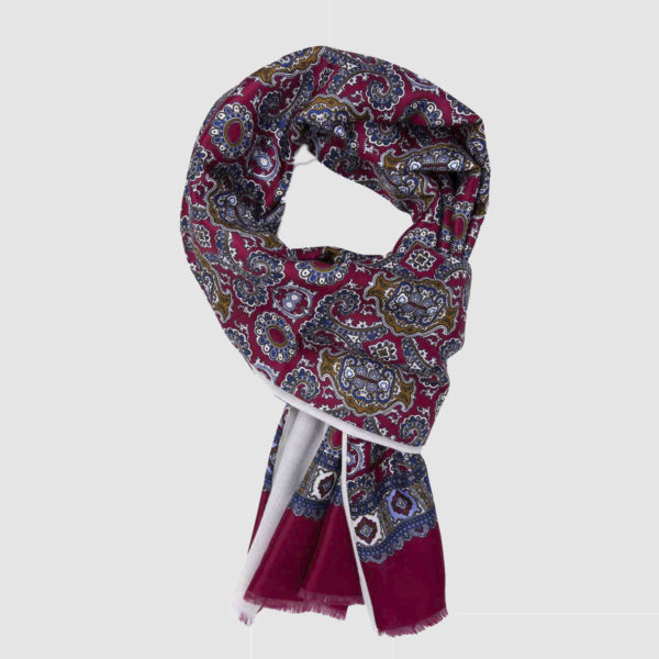 Red & white Wool-Silk Scarf with Baroque Pattern