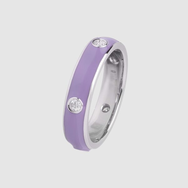 Liliac enamelled ring in white gold and diamonds