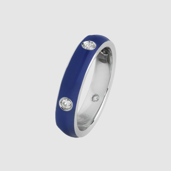 Blue enamelled ring in white gold and diamonds
