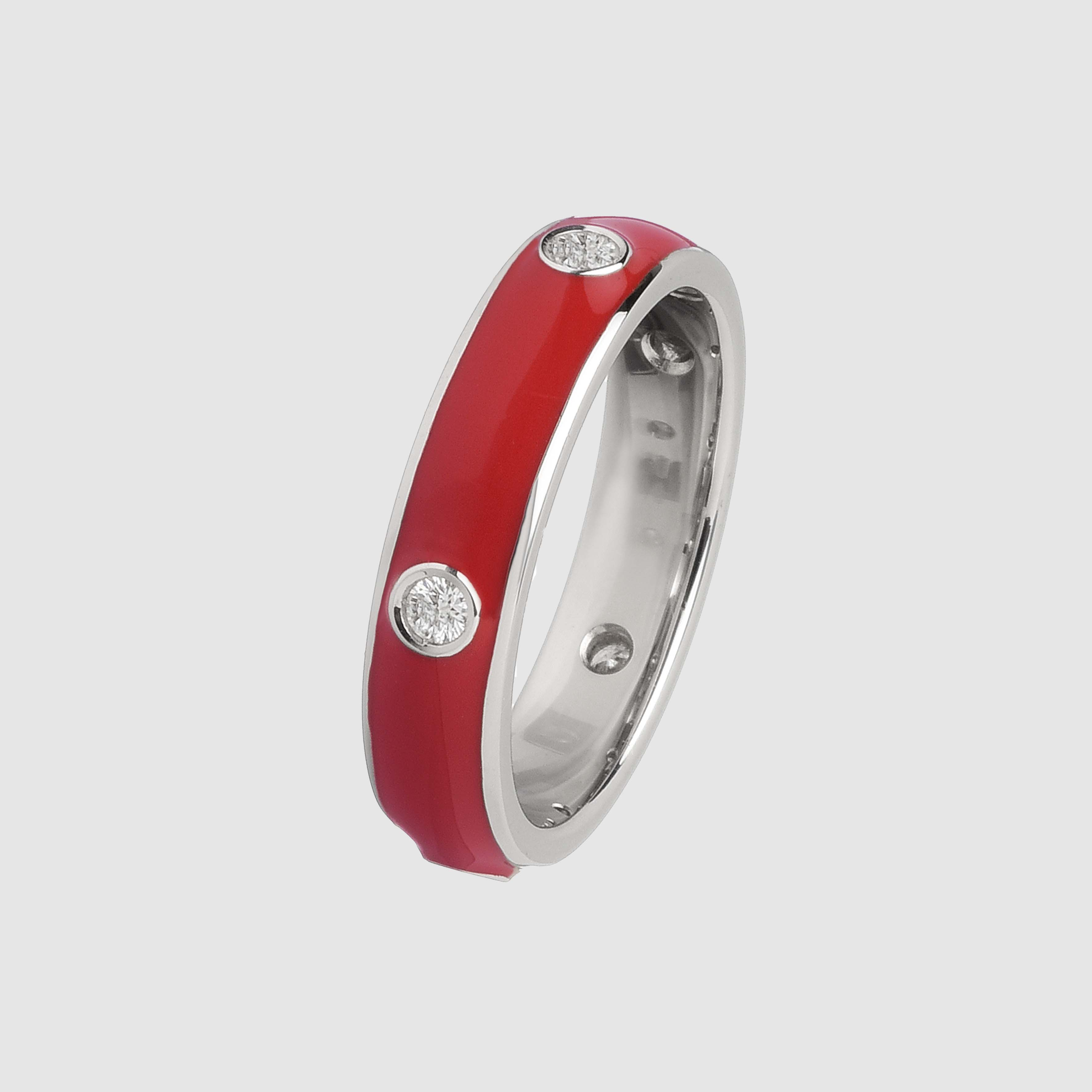 Red enamelled ring in white gold and diamonds
