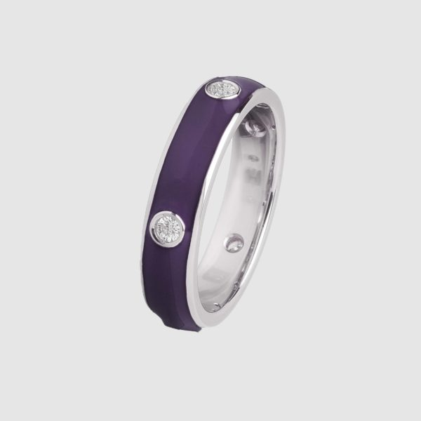 Violet enamelled ring in white gold and diamonds