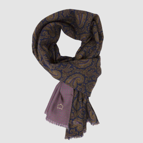 Blue Wool and Purple Silk Scarf with Kashmir pattern
