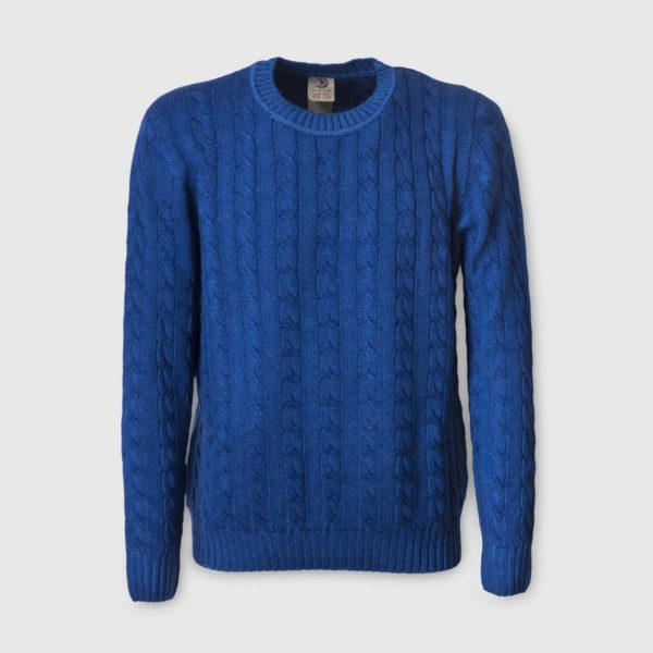 Blue Merinos Wool Sweater with chunky ribbed trims