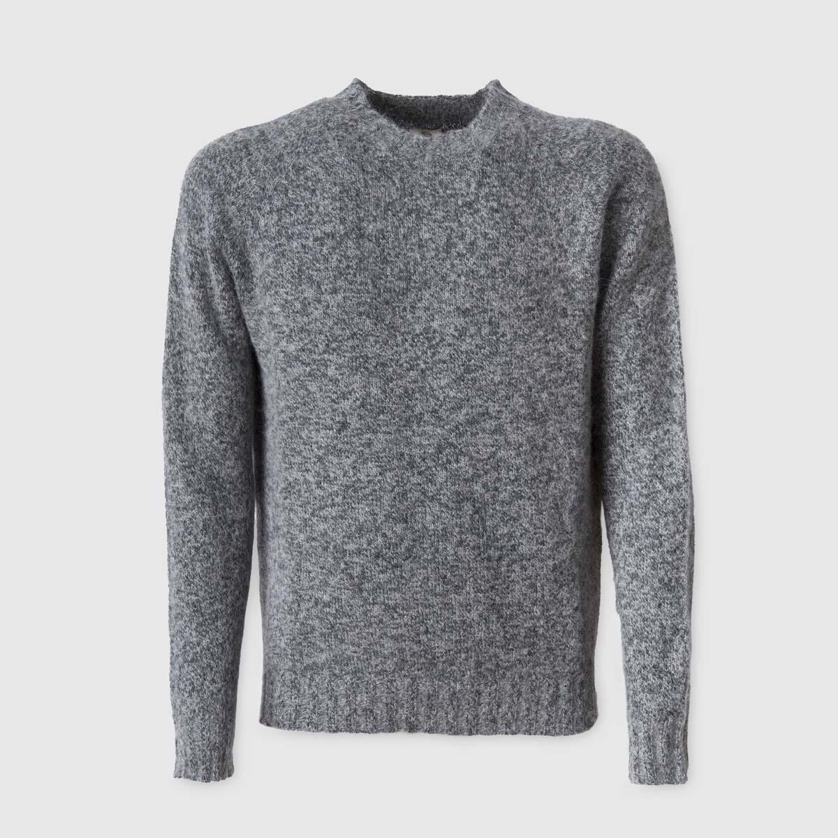 Maglione girocollo grigio in Mohair