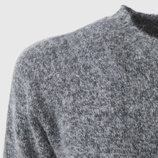 Grey crew cut collar Mohair Sweater