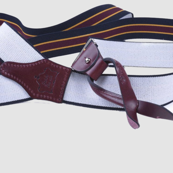 Blue and Oxblood elastic regimental fabric Suspenders