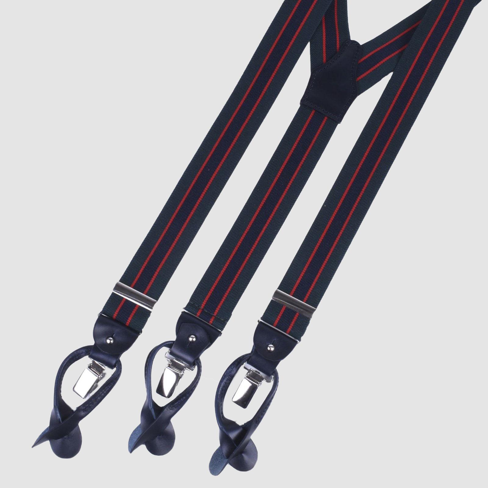 Regimental Green and Blue Elastic Silk suspenders