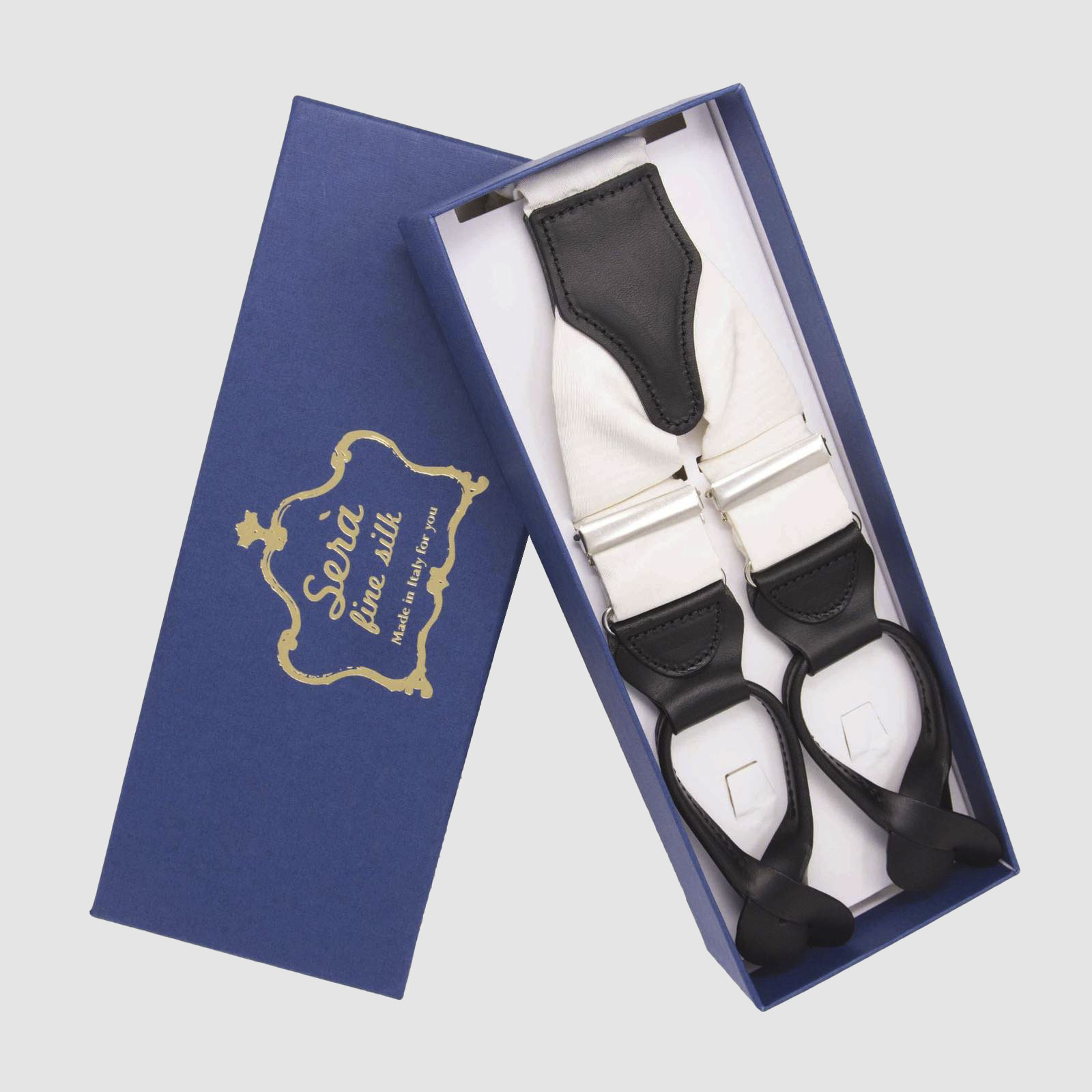 White Moire – Button Only – Silk Suspenders