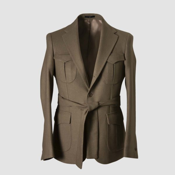 Military green wool & polyester Jacket with belt