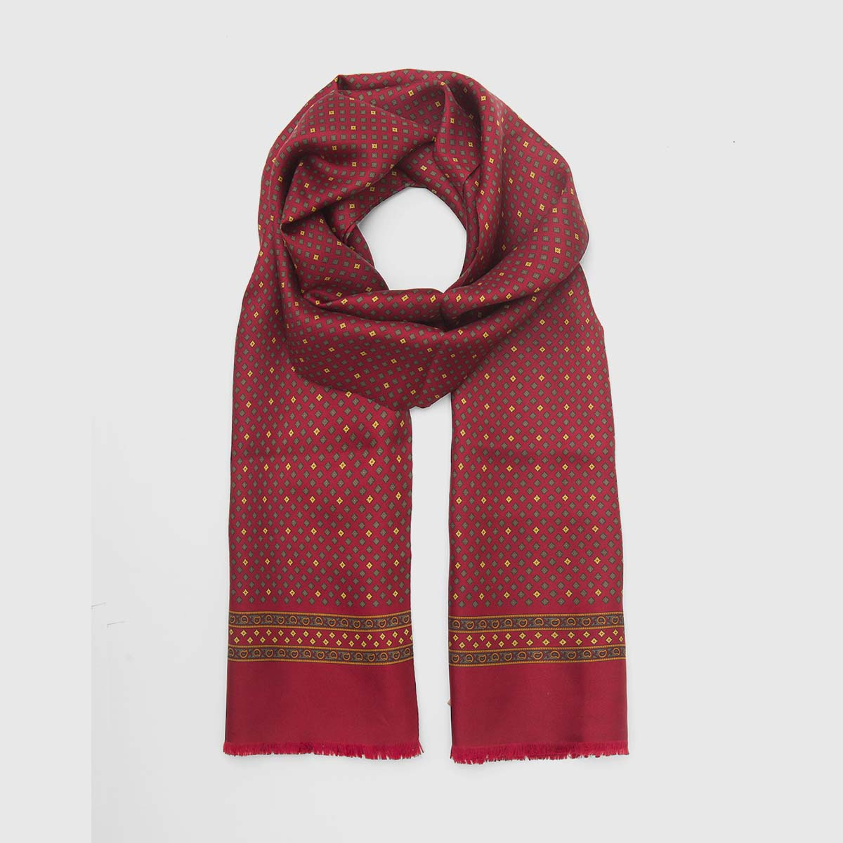 Fringed Red silk scarf with iconic patterns