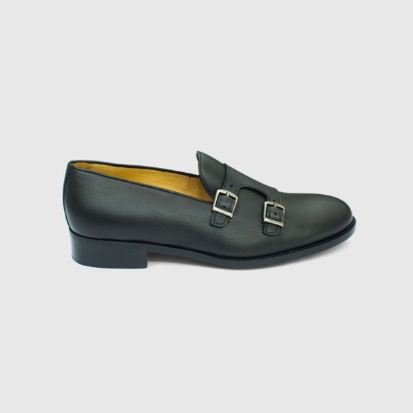 Scarpa mocassino monk strap in vitello nero