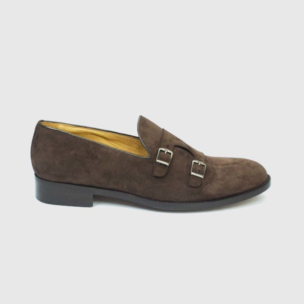 Scarpa mocassino monk strap in vitello scamosciato marrone
