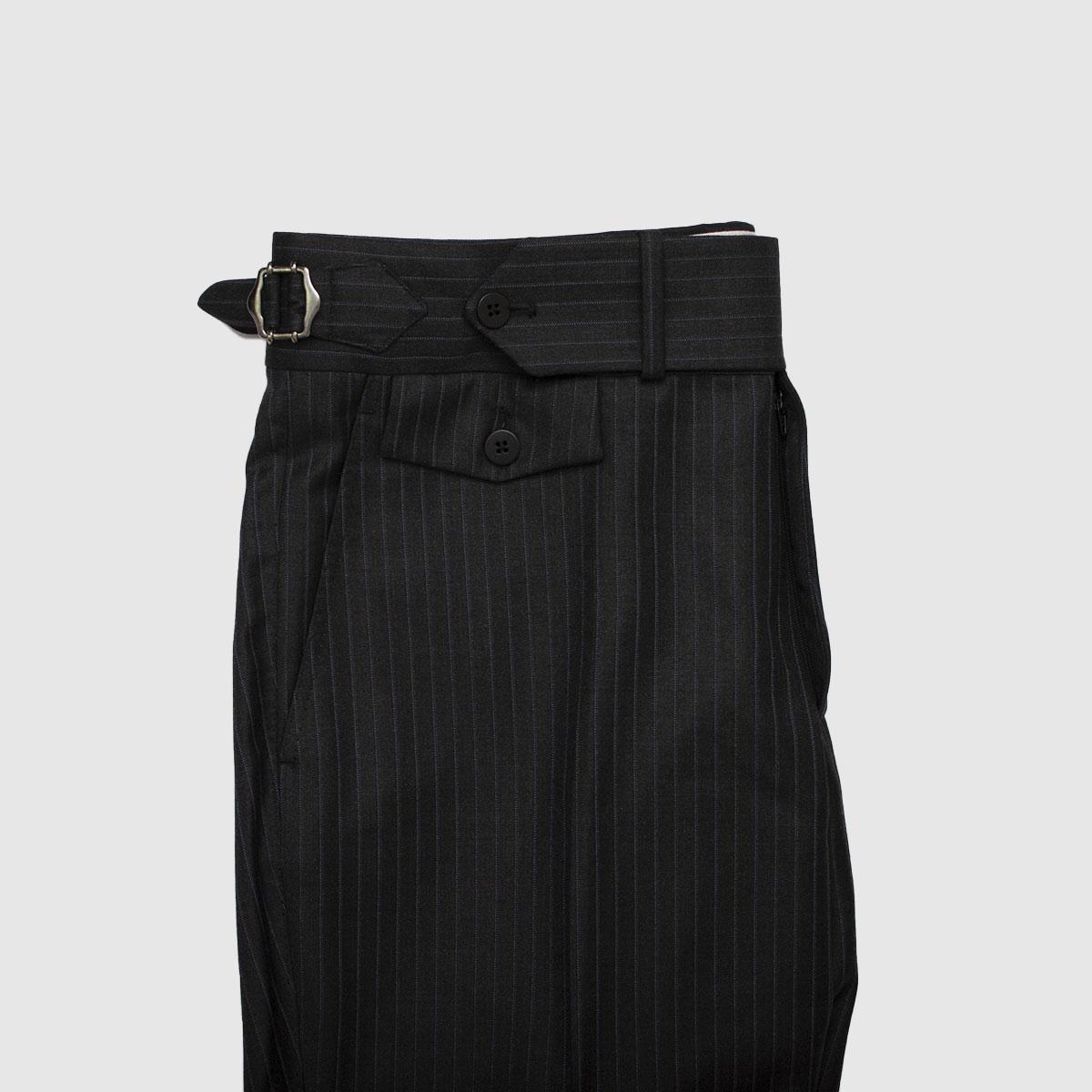 Pantalone 100% Lana a vita alta grigio antracite