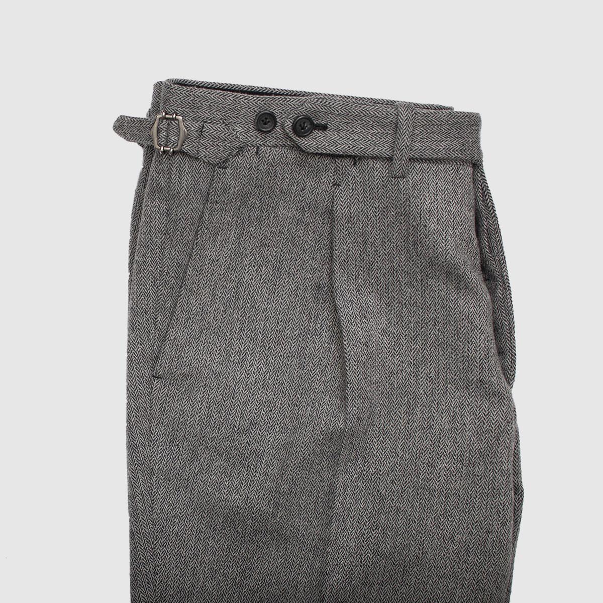 Gray One pleat Herringbone trousers