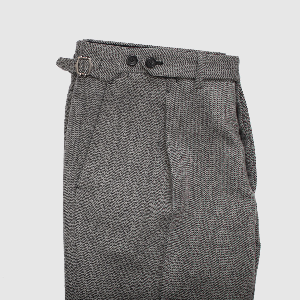 Gray One pleat Herringbone trousers