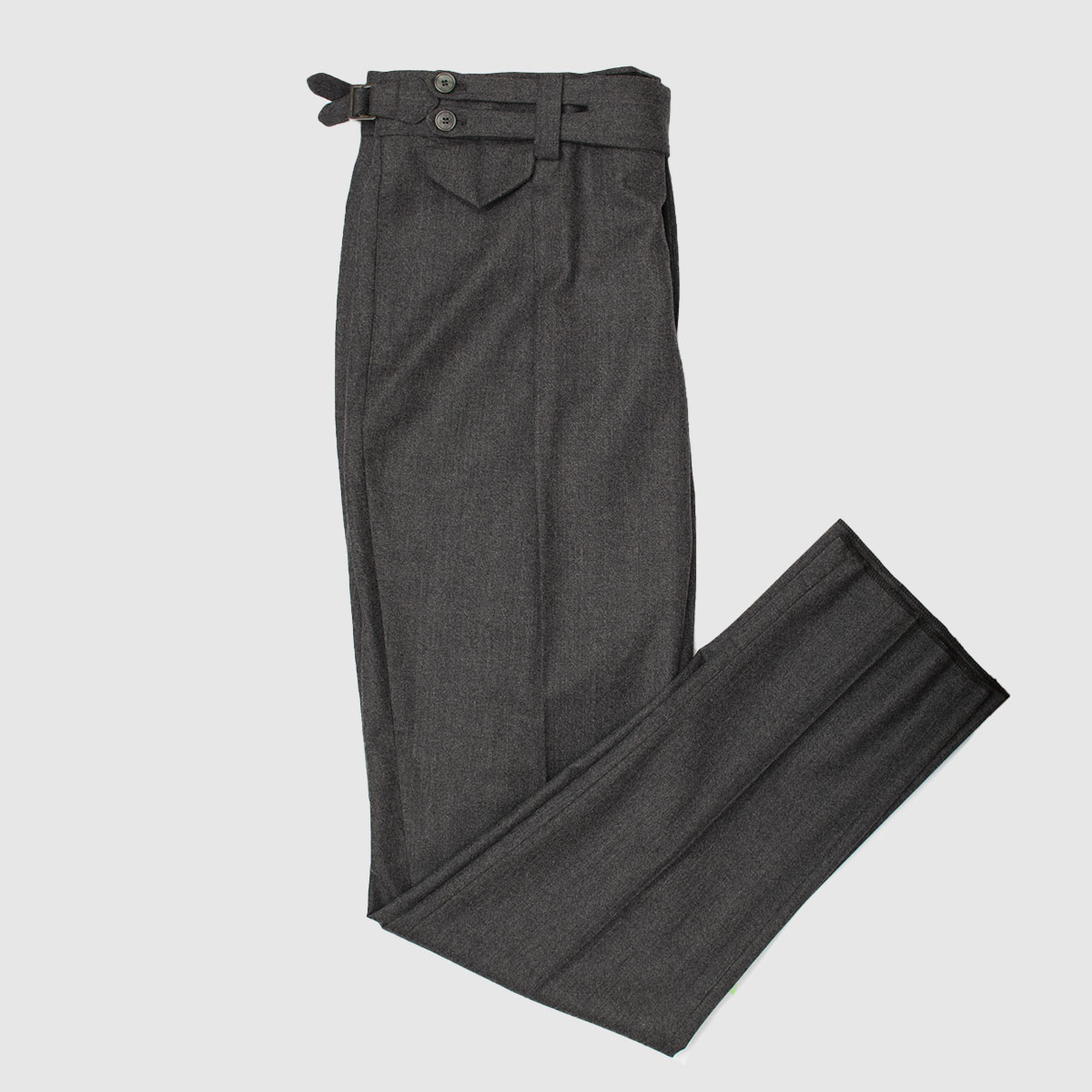 Antracite one pleat wool trousers