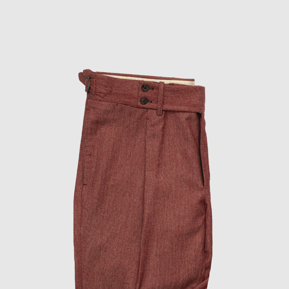 Burgundy One Pleat Wool Trousers