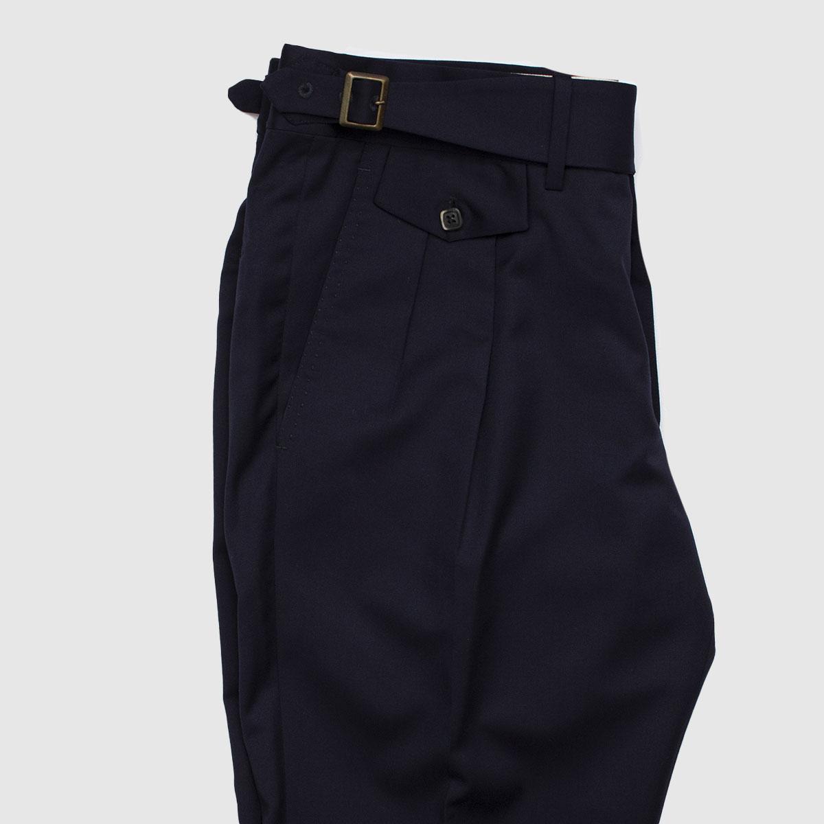 Pantalone a vita alta doppia pinces in Lana blu