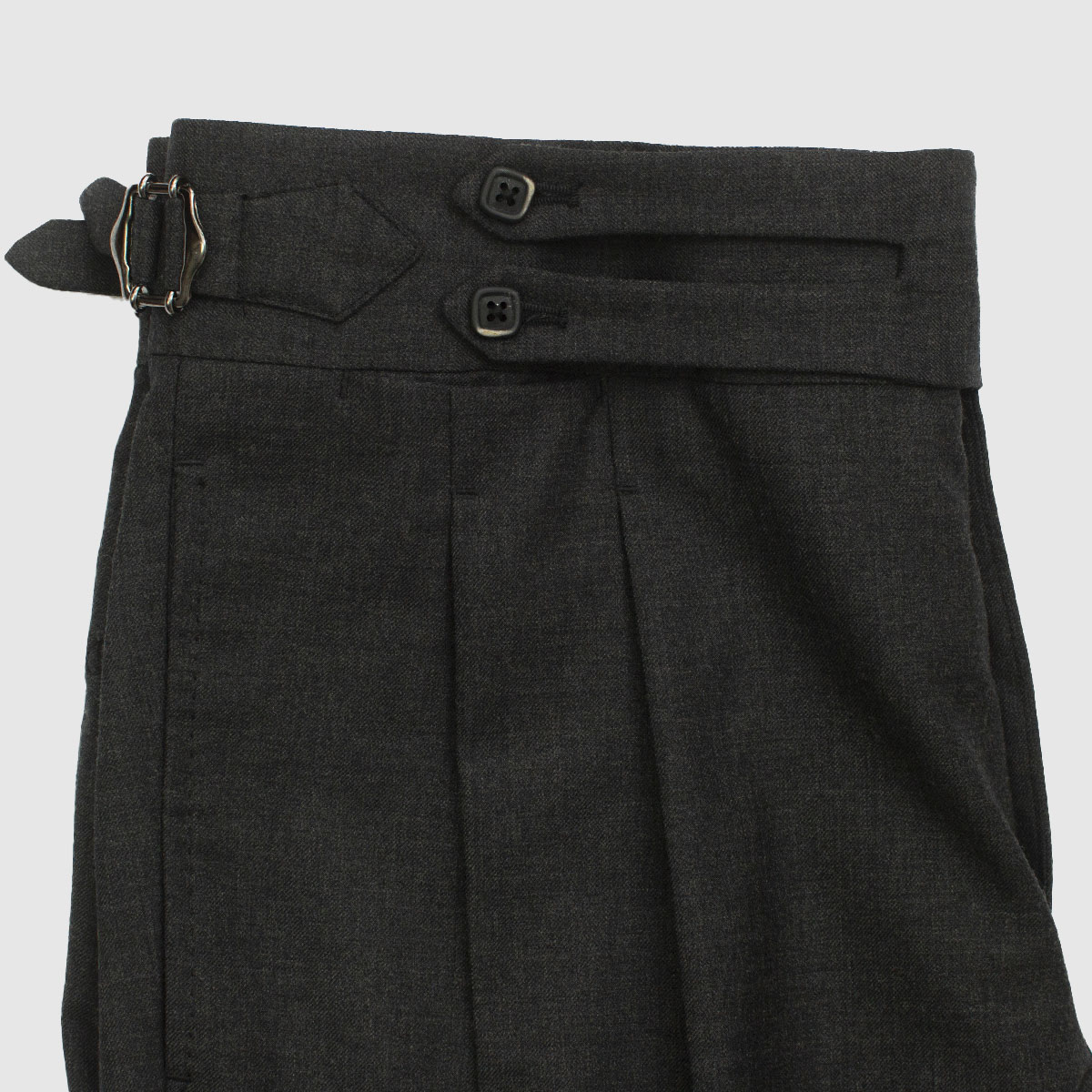 Black Antracite Double pleated Trousers