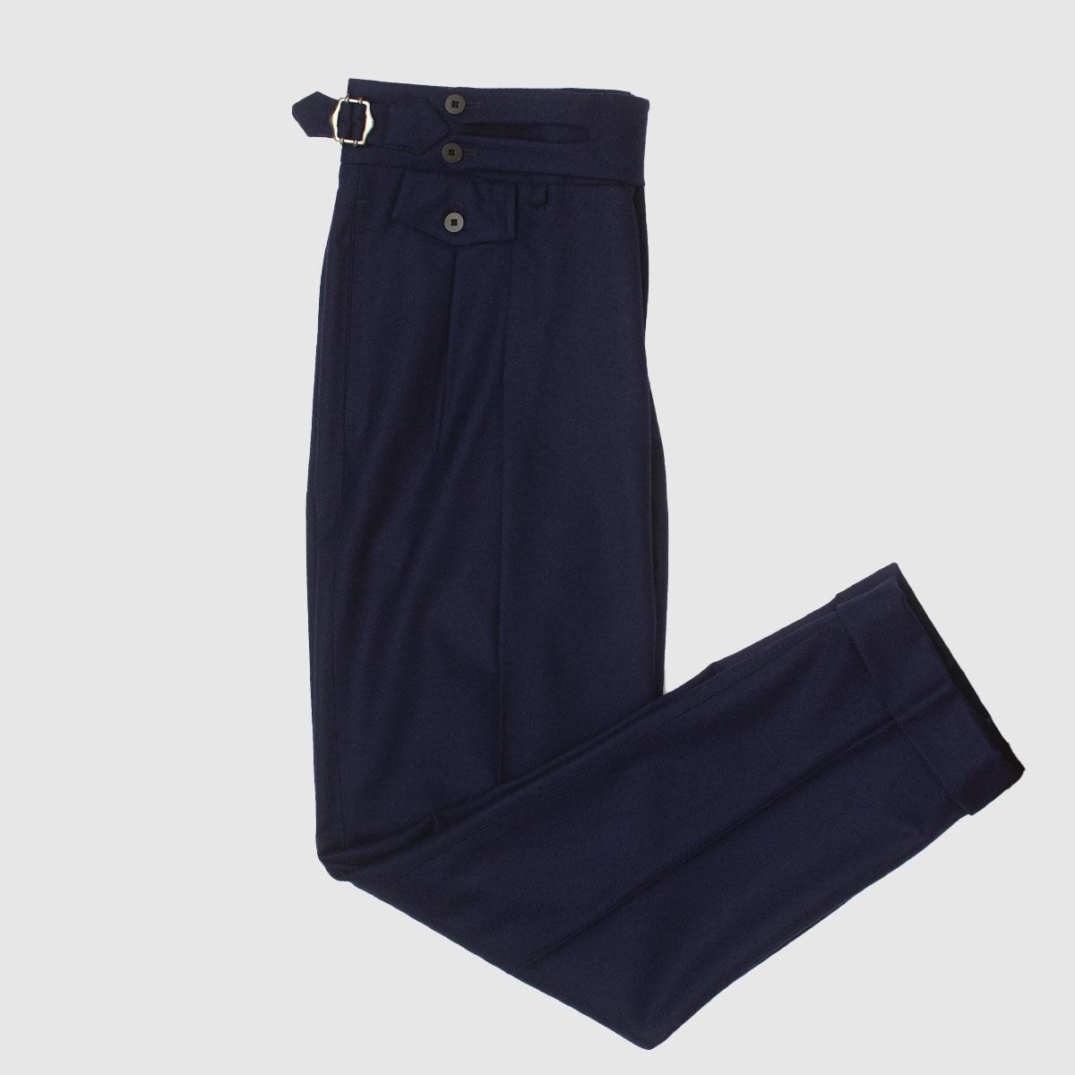 Pantalone in Lana blu doppia pience
