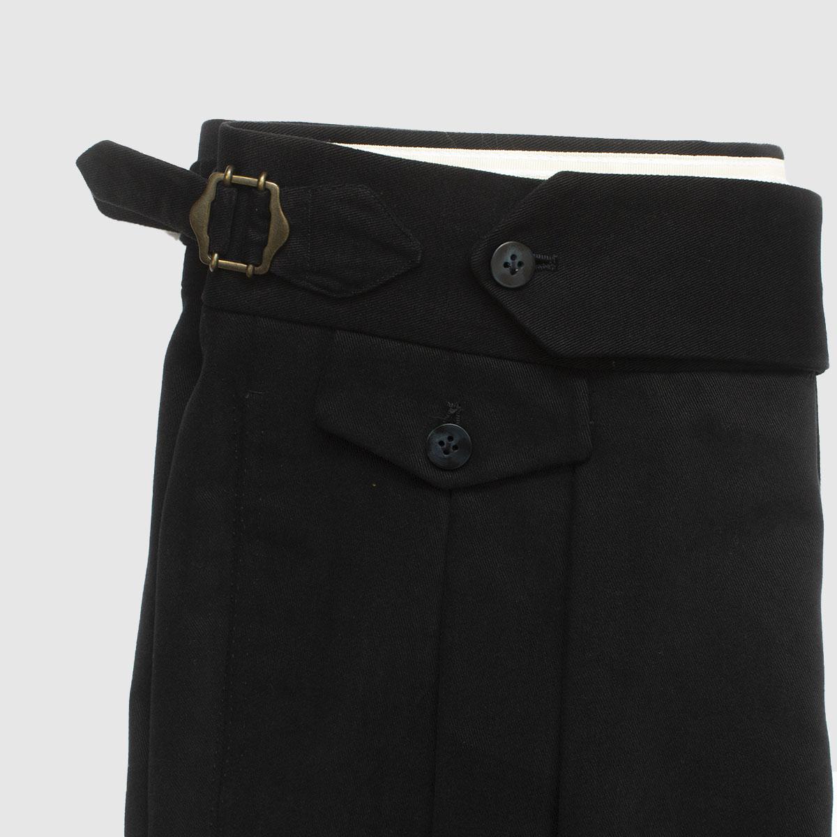 Blue one pleat cotton trousers