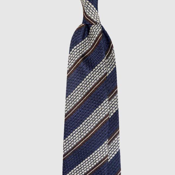 Cravatta Navy / Ecru Grenadine