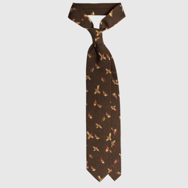 Selvaggio Partridge Cravatta in Seta – Cioccolato