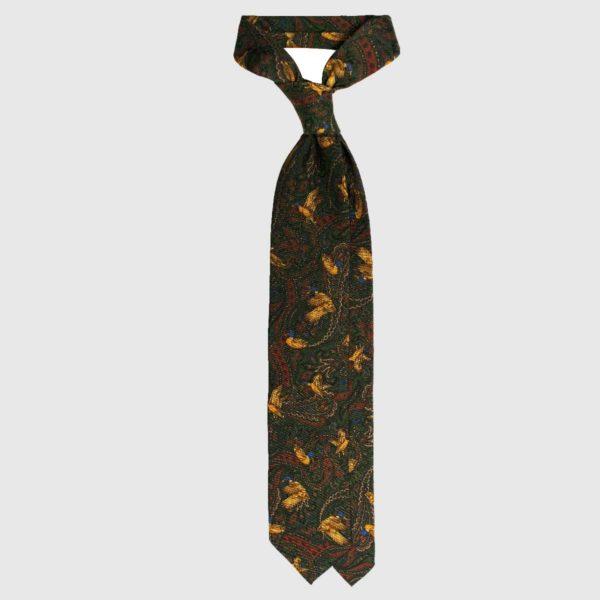 Cravatta Anatre Selvatiche e Cashmere in Seta – Verde