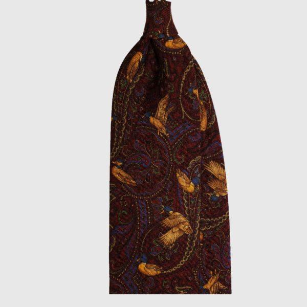 Anatre Selvatiche e Cashmere Cravatta in Seta – Borgogna