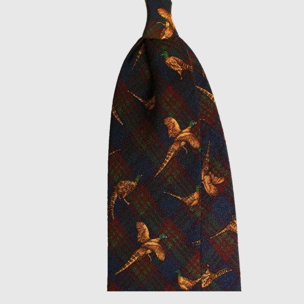 Wild Pheasant Su Check Cravatta in Seta – Navy / Verde