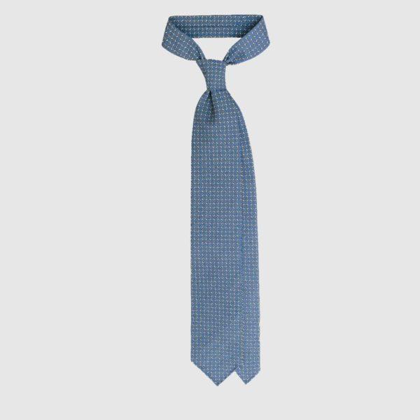 Cravatta in Seta Con Motivo Anelli – Daylight Blue