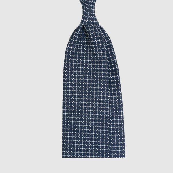 Cravatta in Seta Con Motivo Anelli – Blu Scuro