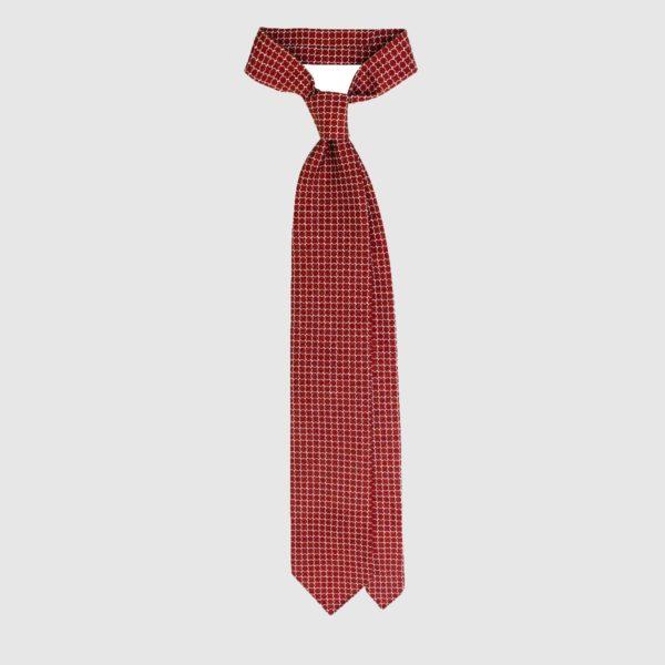Cravatta in Seta Con Motivo Anelli – Rosso