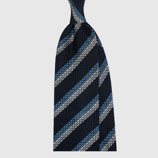 Cravatta Garza Striped – Navy / Ardesia Blu / Grigio