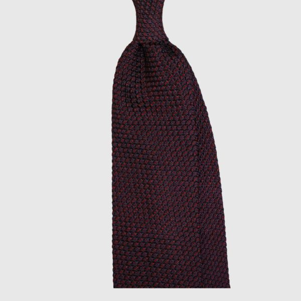 Tonale Striped Grenadine Tie – Navy / Bordeaux