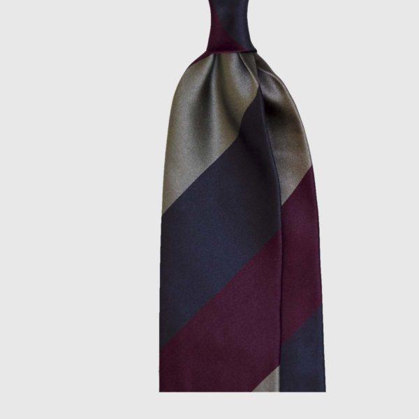 Cravatta in Seta a Strisce Spesse Diagonali – Viola / Grigio / Blu Scuro
