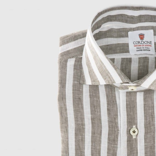 Large Stripe Linen Dress Shirt in Brown & White