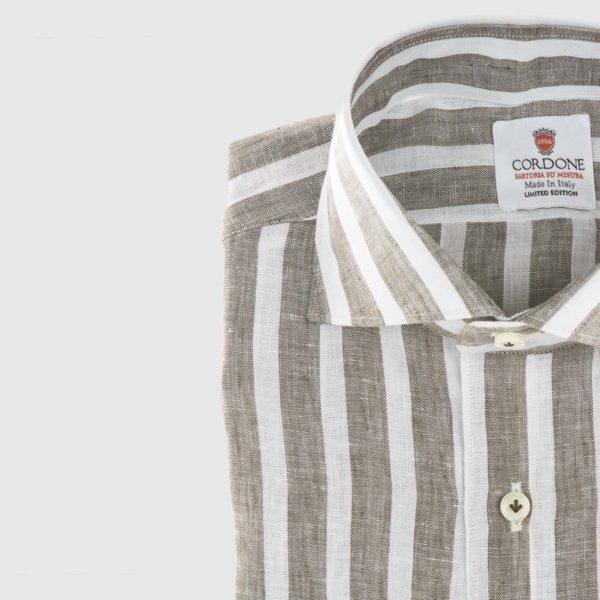 Large Stripe Linen Dress Shirt in Brown & White