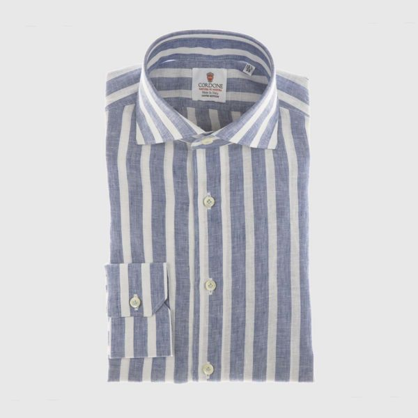Large Stripe Linen Dress Shirt in Denim & White