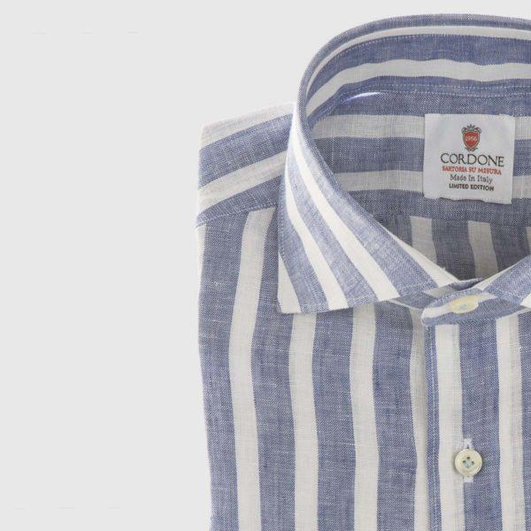 Large Stripe Linen Dress Shirt in Denim & White