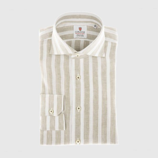 Large Stripe Linen Dress Shirt in Beige & White