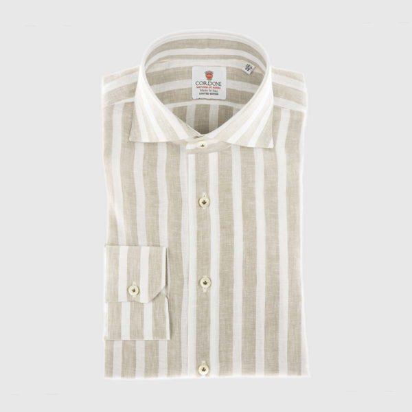 Large Stripe Linen Dress Shirt in Beige & White
