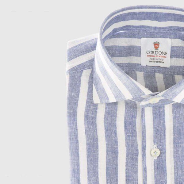 Large Stripe Linen Dress Shirt in Blue & White