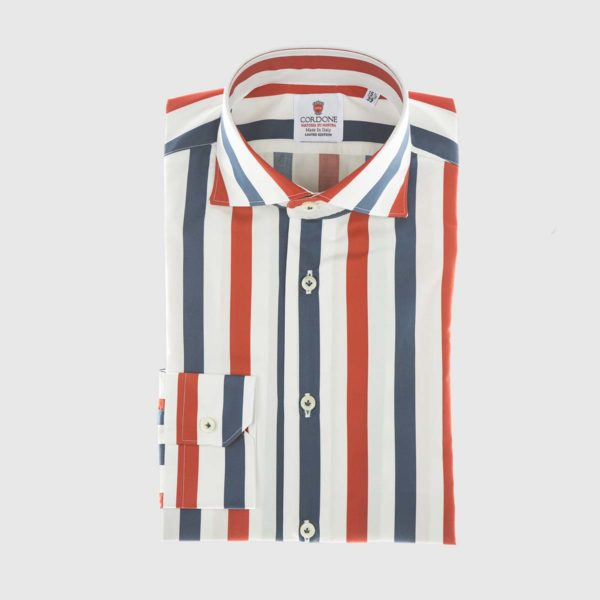 Retro Stripe Dress Shirt in Red & Blue