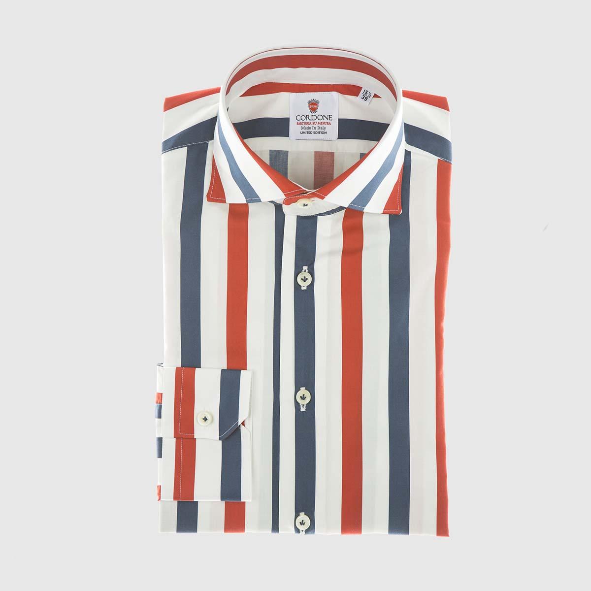 Camicia elegante a righe retrò in rosso e blu