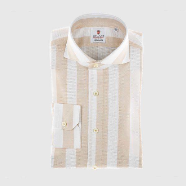 Camicia elegante a righe Giro Inglese in beige