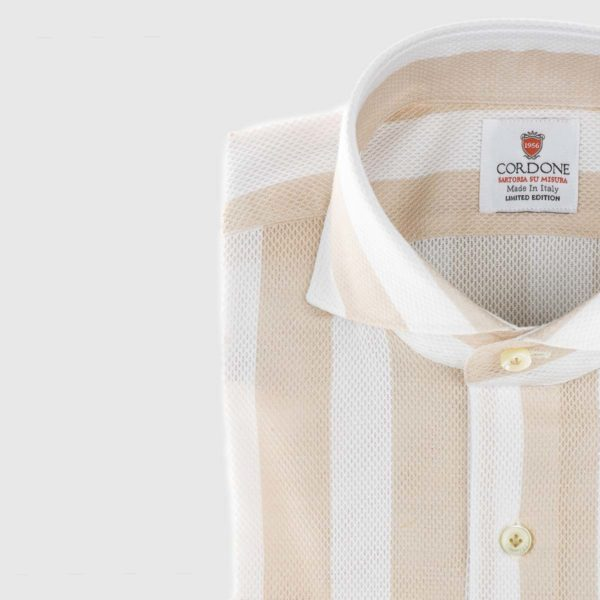 Giro Inglese Striped Dress Shirt in Beige