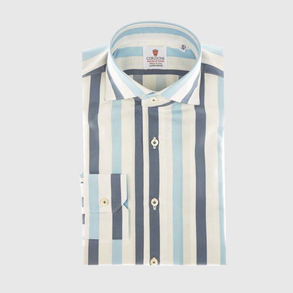Camicia elegante a righe retrò in azzurro e blu